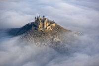 Hohenzollern castle emerging from the mist, Baden-wuerttembe