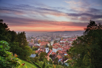 View over Ljubljana at sunset from Castle Hill, Gorenjska, S