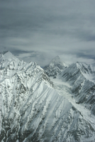 Aerial view of K2 and glaciated valley, Concordia, Karakoram