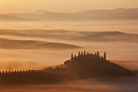 "Sunrise over ""The Belvedere"" (Tuscan farmhouse) and the Val"
