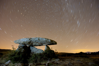 Dolmen d'Eyna at night, with a long exposure capturing star