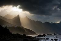 Dramatic light on Benijo Beach. Anaga Peninsula, Tenerife, C