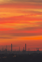 Sunset over Fawley oil refinery viewed from Portsdown Hill,