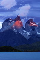 Cuernos del Paine at dawn seen from Pehoe lake, Torres del P