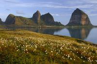 View from Husoya Island towards Traenstaven on Sanna island, Traena archipelago, Helgeland, Nordland, Norway, June 2006