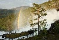 Rainbow over the Kjemagfossen waterfall, Saltfjellet, Nordland, Norway, June 2006