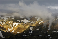 Volcanic steam rising over the Brennesteinsalda and Rhyolite mountains, Landmannalaugar, Iceland, June 2008