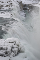Gullfoss waterfall covered in ice, Iceland, March 2011
