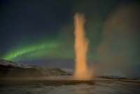 Northern lights and the Strokkur Geyser, Iceland, March 2011