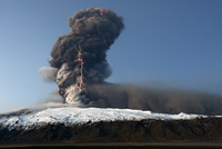Volcanic eruption at Eyjafjallajokull with lightning in the ash plume, Iceland, April 2010