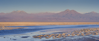 Atacama Desert with mountains on horizon and heavily salted waters of laguna in foreground, Chile, April 2009