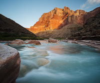 The turquoise waters of the Little Colorado River near its confluence with Colorado River in the Grand Canyon at dawn. Arizona.