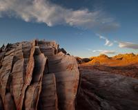 Eroded Aztec sandstone, dating back to the Jurassic, Mojave Desert near Las Vegas, Nevada, USA