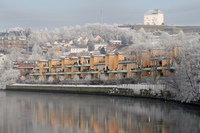 Winter landscape, the Nidelva River with the Kristiansen fortress in the background, Trondheim, Sor-Trondelag, Norway, January 2