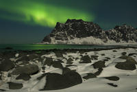 The Northern lights (Aurora borealis) viewed from Utakleiv, Vestvagoy, Lofoten, Nordland, Norway, March 2006