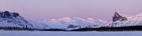 The mountains of Tjakkeli, Nammatj and Skierfe in the Sarek National Park, Laitaure Delta, Laponia, Sweden, winter
