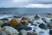 Stones on beach washed by the sea, Helgeland, Nordland, Norway, January 2010.