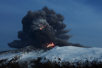 Lightning effects in the ash plume from the Eyjafjallajokull volcano eruption, Iceland, April 2010