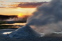 Hot springs and fumarole, dawn, Hveravellir, Iceland, May 2010