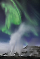 Steam vents with northern lights at night, Hverir, Namafjall, Iceland, February 2011