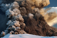 Ash plume from the Eyjafjallajokull volcano eruption, Iceland, April 2010