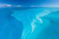 Aerial image showing sandbanks in the Bahamas archipelago, Caribbean, February 2012