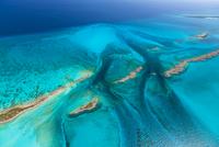 Aerial image showing sandbanks and islands in the Bahamas archipelago, Caribbean, February 2012