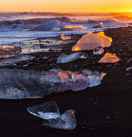Melting ice on Jokulsarlon beach. Southern Iceland, Europe, November 2012.