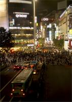 Pedestrian crowd at night