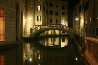 Venetian bridge at night