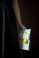 Woman wearing black dress and holding book and single yellow tulip