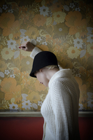 Vintage woman and wallpaper