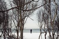 Snowy beach with figure