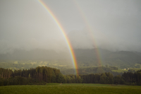 Double rainbow In Landscape