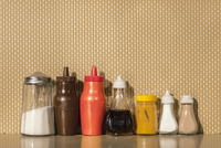 Various cafe condiments