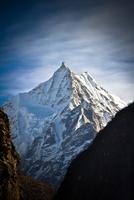 Snow covered mountain peak. Tibet