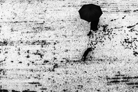 Overhead view of a person walking a dog and holding an umbrella in the snow
