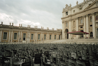 Empty seating for Easter Mass gathering. St. Peters Square, Rome, Italy