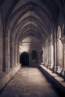 Gothic church cloister with aged columns and vaulted ceiling. France