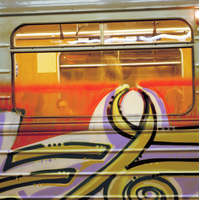 Graffiti on Prague metro train. Prague, Czech Republic
