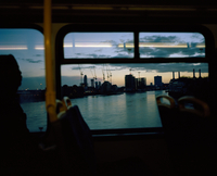 View from the upper deck of a bus as it crosses the Thames. London, United Kingdom