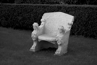Carved marble bench. Buenos Aires, Argentina