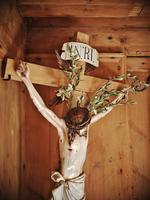 Crucifix model in a farmhouse. Tyrol, Austria