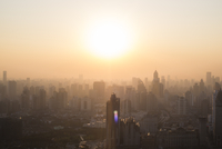 Cityscape view of Puxi district with sun setting. Shanghai, China