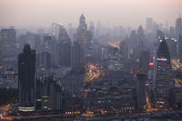 Cityscape view of Puxi district at dusk. Shanghai, China