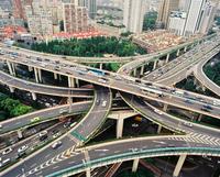 Road junction in Yan'an Interchange. Shanghai, China
