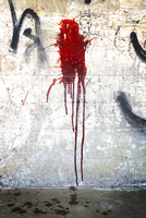 Blood splattered on wall