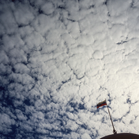 Clouds over Russian flag. Moscow, Russia