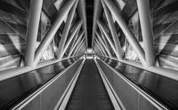 Modern escalator in airport. Dusseldorf, Germany