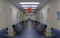 Red balloon in hospital corridor. England, United Kingdom